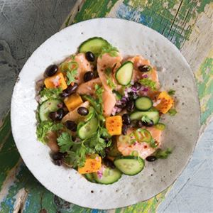 Salmon Ceviche with Sweet Potatoes and Black Beans - Chef Recipe by Stevan Paul