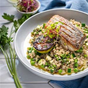 Wild Barramundi with Pearl Barley Risotto - Chef Recipe Richard Kerr
