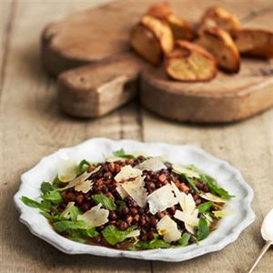 Parched Peas with Bacon, Rocket and Lemongrass by Angela Clutton