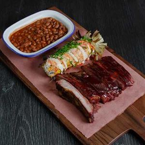 Smoky Pork Ribs, BBQ Sauce and Beans
