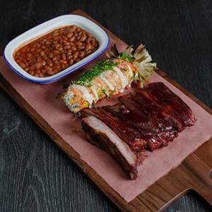 Smoky Pork Ribs, BBQ Sauce and Beans