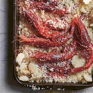 Prawns Baked in Salt with Mango, Chilli and Coriander Salsa