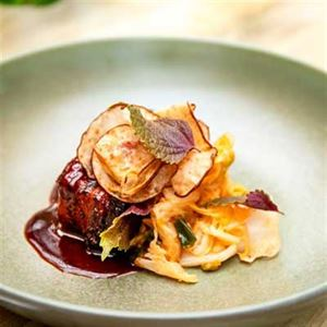 Tamarind Braised Pork Belly, Kimchi, Nashi Crisps and Perilla - Chef Recipe by Matt Golinski