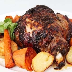 Roast Lamb with Mint & Rosemary