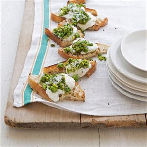 Bruschetta with Pea Pesto and Burrata - Chef Recipe Curtis Stone