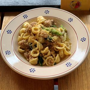 Orecchiette with Turnip Tops, Pork and Fennel Seed Sausage - Chef Recipe by Fabio Barbieri
