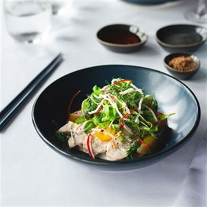 Coconut Poached Chicken Salad with Crispy Noodles - Chef Recipe by Nick Stapleton