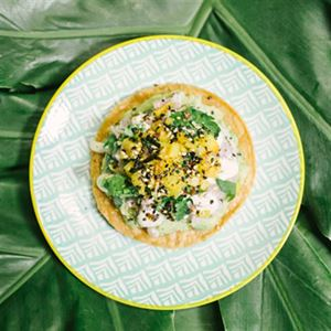 Ceviche Snapper Tostadas with Coconut and Apple - Chef Recipe by Ben Fossilo