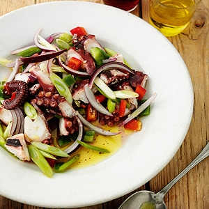 Octopus Salad with Spring Onions and Peppers