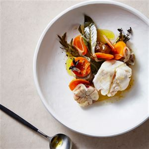Poached Hapuka, Artichokes and Garlic Mayonnaise - Chef Recipe by Josh Niland