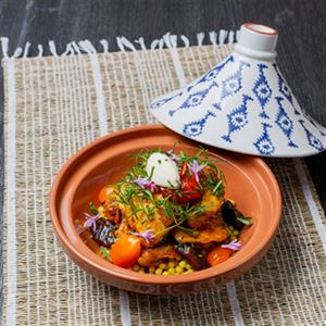 Organic Chicken Tagine with Moghrabieh and Minted Yoghurt - Chef Recipe by Ashraf Saleh