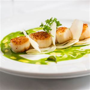 Wild Canadian Scallops with Salsa Verde - Chef Recipe Laurent Cambon