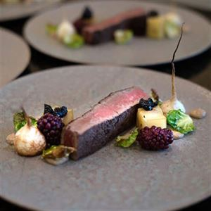 Wagyu Sirloin, Cherry Compote, Black Garlic, Micro Bush Turnips and Smoked Blackberries - Chef Recipe by Jason Ludwig