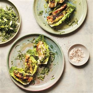 Roasted Chicken Thighs with Spicy Herb Salad - Chef Recipe by Charlie Carrington