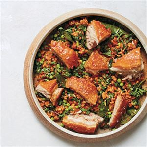 Roasted Pork Belly with Pea and Onion Rice - Chef Recipe by Charlie Carrington