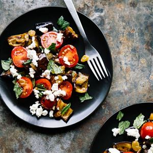 Crispy Eggplant with Fresh Mozzarella, Tomatoes, Pickled Raisins and Mint