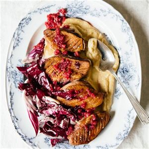 Parsnip Puree with Duck Breast, Radicchio and Cranberry Relish