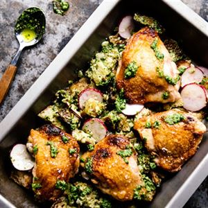 Ramp Pesto with Seared Chicken, Radish and Bread Salad