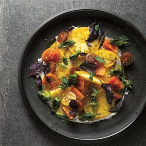 Heirloom Tomato, PadrOn and Goats' Curd Salad - Chef Recipe by Matthew Evans