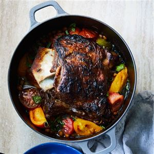 Slow Cooked Lamb Shoulder, Tomatoes and Chickpeas - Chef Recipe by George Calombaris