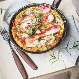 Wild Rice Frittata with Mushrooms and Bacon
