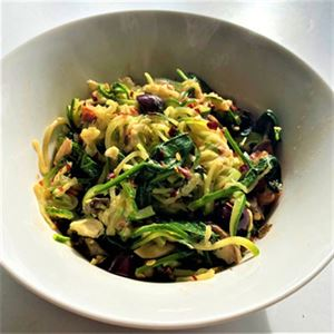 Alimentary Recipe Series: Zoodles with Feta, Basil and Spinach