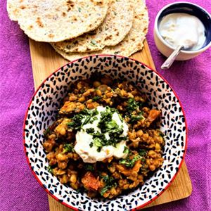 Lentil and Sweet Potato Curry with Coconut Roti - Recipe by Alison Wright