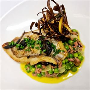 Crispy Skin Snapper with Peas Bonne Femme - Chef Recipe by Caleb Azuka