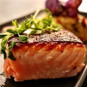 Grilled Wild Salmon with Couscous and Orange Miso Dressing - Chef Recipe by Lisa Mead