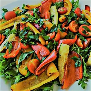 Roasted Capsicum, Zucchini and Cherry Tomato Salad - Recipe by Alison Wright