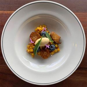 Sweet Corn, King Oyster Mushroom, Miso, Parmesan and Blueberry - Chef Recipe by Michael Harrison