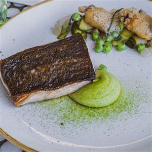 Hiramasa Kingfish, Zucchini, Garden Peas, Lemon Gel, Oyster Beignet and Sea Foam - Chef Recipe Pete Cutcliffe and Adam Tait