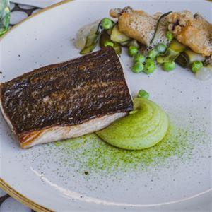 Hiramasa Kingfish, Zucchini, Garden Peas, Lemon Gel, Oyster Beignet and Sea Foam - Chef Recipe Pete Cutcliffe and Adam Tait