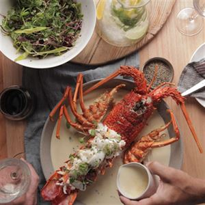 Grilled WA Lobster with Sauce Creme and Pauls Micro Herb Salad - Chef Recipe by Peter Kuruvita