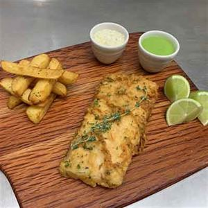 Battered Snapper Fillet, Triple-cooked Chips, Pea Purée and Tartar Sauce - Chef Recipe by Marcel Schulter