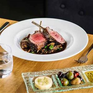 Spice-crusted Lamb Rack, Ragout of Barley, Caramelised Onion and Slow-roast Lamb Shoulder - Chef Recipe by Brian Duncan