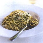 Spaghetti with Olive and Mint Pesto
