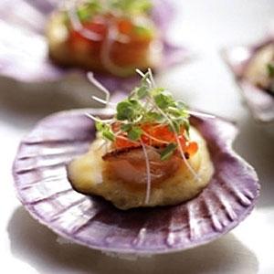 Scallops with Pearl Tapioca and Salmon Caviar