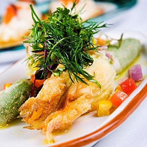 Zucchini Flower Stuffed with Goat's Cheese & Black Olive Dressing