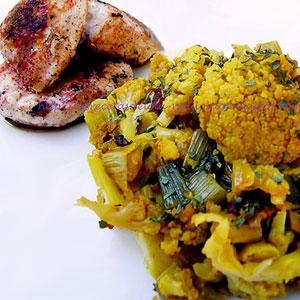 Yellow Cauliflower with Garlic and Spicy Chicken