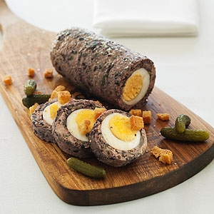 Egg Rolo with Garlic Croutons and Cornichons