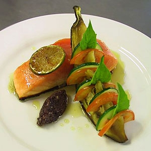 Semi-cooked Salmon, Petit Vegetables & Honey Lime Emulsion