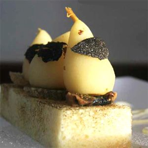 Truffle Infused Fig & Baby Pear on Toasted Brioche with Honey Mascarpone