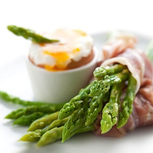 Prosciutto Wrapped Asparagus and Soft Boiled Egg