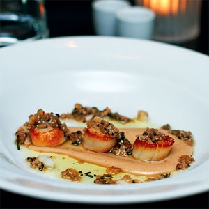 Pan-seared Scallops on Chestnut Puree & Eschallot Salsa