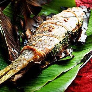 Herb Infused Fish in Banana Leaf
