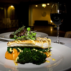 Pan Seared Goldband Snapper, Sweet Potato Puree, Wilted Spinach, Broccolini & Hollandaise Sauce