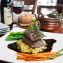 Lamb Back Strap with Red Wine Jus, Spicy Garlic Mustard Mashed Potato and Seasonal Vegetables