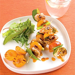 Chicken, Kaffir Lime and Apricot Skewers