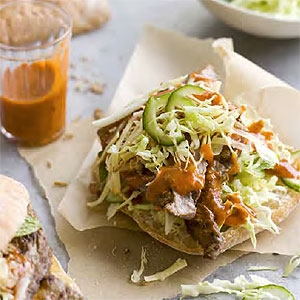 Chilli Cheese Steak Sandwiches with Cabbage Salad